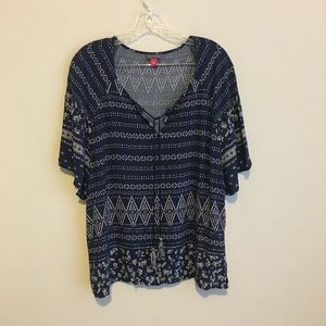 Vince Camuto Navy Geometric&Floral Tie Front Top